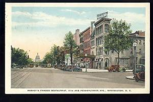 Vintage Washington, DC Postcard, Harvey's Famous Restaurant, Old Cars