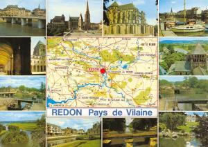 Postcard Map & Multiview, REDON Pays de Vilaine, Ille et Vilaine, France B76