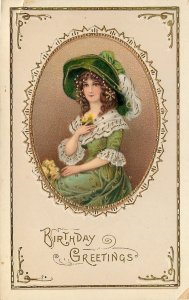 Edwardian Lady Portrait~Lime Green Lacy Gown~Feather Hat~Gold Leaf GEL~Germany