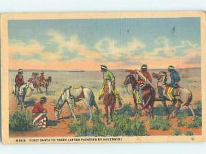 Linen POSTCARD OF NATIVE INDIAN PAINTING AT MUSEUM hr1474