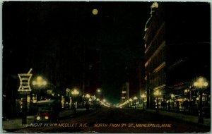 Minneapolis, Minnesota Postcard Night View W. of Nicollet Avenue 1922 Cancel