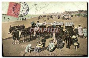 Old Postcard Donkey Mule Berck Beach Sick cars on the beach