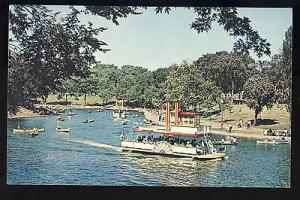 Montreal, Quebec, Canada  Postcard, Lafontaine Park, Paddle Boat In Lake