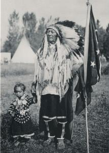 Plenty Coups Crow Chief and Daughter Indian circa 1907 Western USA Recent Print