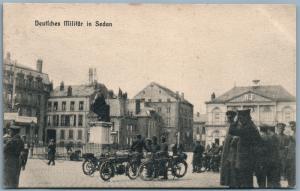 Deutsche Militär Motorcycles in Sedan Frankreich 1915 Feldpost Antik Postkarte