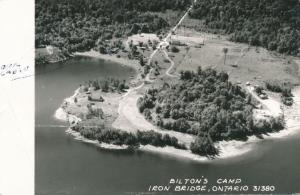 RPPC Aerial View of Bilton's Camp Resort - Iron Bridge Ontario, Canada - pm 1957
