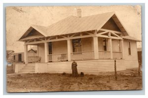 Vintage 1900's RPPC Postcard Craftsman Home Woman and her Dog