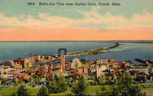 Minnesota Duluth Birds Eye View From Skyline Drive 1938 Curteich
