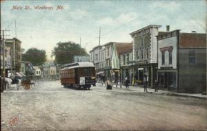 Winthrop ME Main St. Trolley c1910 Postcard