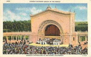 Linen Card of Largest Outdoor Organ San Diego CA 1935