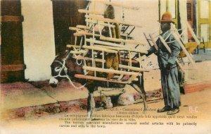 Vintage Postcard; Haiti, Haitian Peasant Chair Seller & Donkey Laden with Chairs