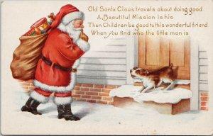 Santa Claus Christmas Dog Embossed c1921 Whitney Made Postcard G53