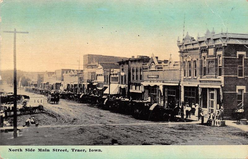 Traer Iowa~North Side Main Street~Ice Delivery Wagon~Boys on Push Wagon~1908 PC