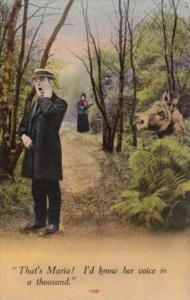 Bamforth Man and Donkey That's Maria I'd Know Here Voice In A Thousand 1912