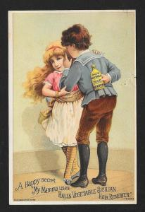 VICTORIAN TRADE CARD Hall's Hair Renewer Girl Boy w/Bottle