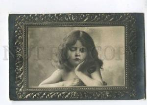 257756 NUDE Curly GIRL Portrait DREAM Vintage PHOTO postcard