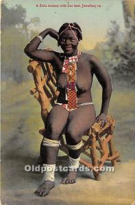 African Nude Postcard A Sulu woman with her best Jewellery on Writing on back