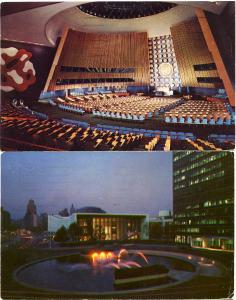 (2 cards) General Assembly Hall & Fountain United Nations New York City