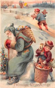 Frohliche Weihnachten Santa Claus Hold To Light postal used unknown close to ...