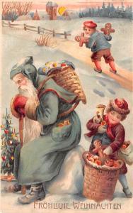 Santa Claus Hold To Light Post Card Old Vintage Antique Frohliche Weihnachten...
