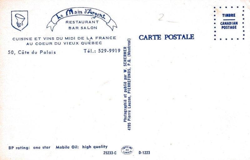 La Cite , Quebec , Canada , 1950-60s ; La Main d'Argent Restaurant