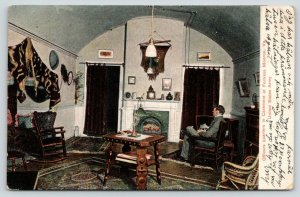 Fortress Monroe Virginia~Casement Army Officers Quarters~Man by Fireplace~1908
