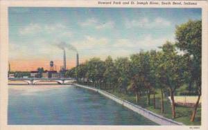 Indiana South Bend Howard Park & St Joseph River 1949 Curteich