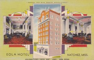 NATCHEZ , Mississippi, 30-40s; Eola Hotel, Main Lobby & Palm Room