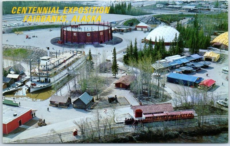 Alaska 67 Centennial Exposition Postcard Pioneer Park Air View Fairbanks Unused