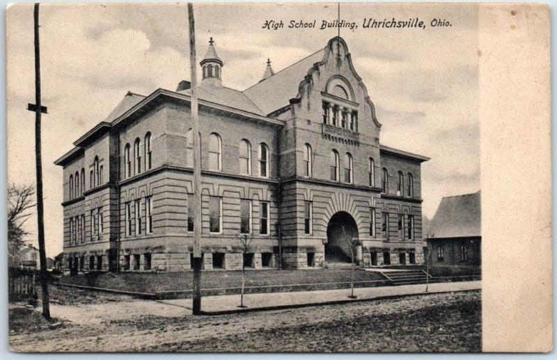 Uhrichsville, Ohio Postcard High School Building Street View c1900s Undivided