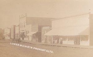 RP: PROVOST , Alberta , Canada , PU-1914; Lower Main Street (dirt) , Storefronts