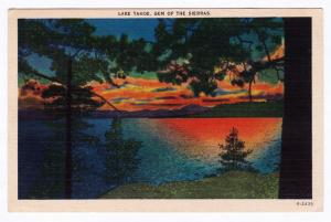 Gem of the Sierras 1930-1945 Lake Tahoe Nevada NV CA California Linen Postcard