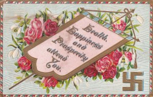 Health, Happiness & Prosperity attend you, 1900-10s; Banner, Lilies & Roses...