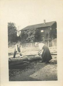 Real photo 1930s people social history couple seasaw wood to identify 5x7cm