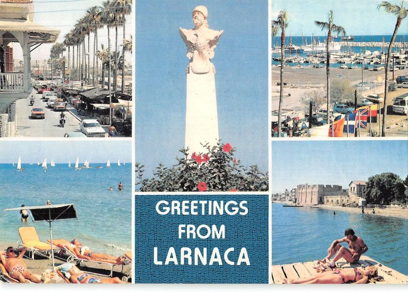 B110007 Cyprus Greetings from Larnaca, Statue, Beach Plage Harbour Boats Port