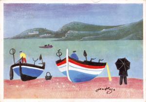Vintage Art Postcard BOATS AT COLLIOURE Jean Hugo, Soho Pub. Co. Ltd No.340 #C