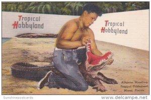 Seminole Indian Henry Nelson Alligator Wrestling Tropical Hobbyland Miami Flo...