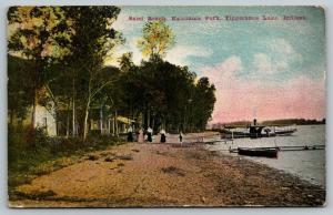 Tippecanoe Lake Indiana~Kalorama Park~Paddle Wheel Steamer~Sand Beach~1909 PC