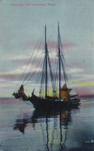 Evening  on St. Lawrence River, Sail Boat, 1900-10s
