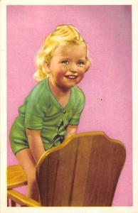 Cute Girl on chair, playful, smile, fillette, kids child