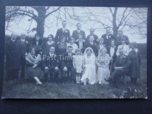 Wedding Group Portrait BRIDE & GROOM Old RP Postcard by Edith Driver of Ipswich