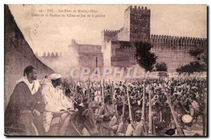 Postcard Old Fez Morocco Moulay Idriss The Fetes de Denlo of Fanfara Sultan a...