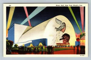 1939 New York World's Fair - Music Hall Auditorium at Night - Linen Postcard