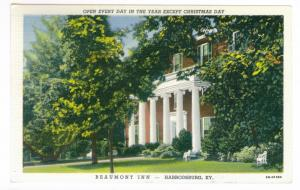 Harrodsburg, Kentucky to Milwaukee Wisconsin 1948 used Postcard, Beaumont Inn