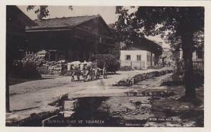 RP: Sumava ulice ve Volarech, Czech Republic , ox Cart on street , 1910-20s