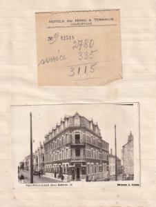 Hotel Du Nord Terminus Charleville Real Photo Postcard & Guest Receipt