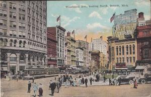 Animated Woodward Avenue Detroit Michigan United States 1920s cars tram stores