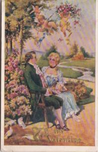 Valentine's Day Cupid Shooting Arrow At Victorian Couple 1912