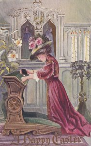 EASTER, PU-1909; Woman praying in Church