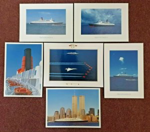 Superb QE2 Postcard Collection of 6 Cards, Twin Towers, New York, Funnel, at sea